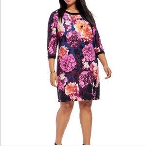 Eliza J Floral Blossom 3/4 Sleeve Shift Dress